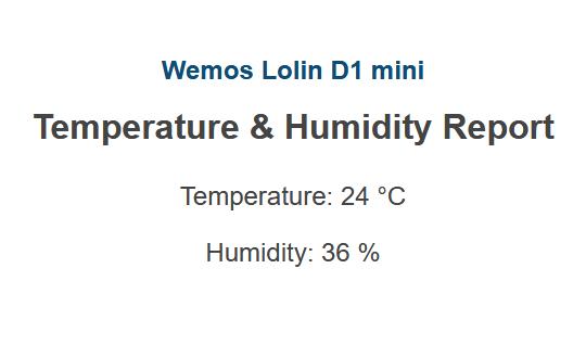 Webseite mit den aktuellen Messwerten Temperatur und Luftfeuchtigkeit, ausgeliefert vom WeMos D1 mini