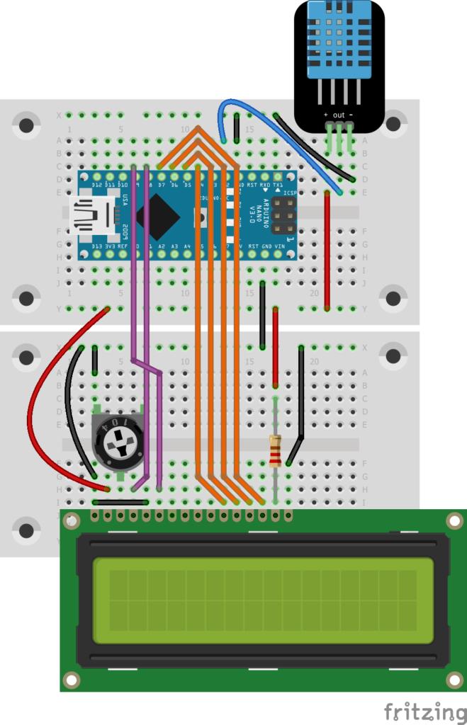 Steckplatinen-Aufbau mit Arduino Nano, DHT-11 und Display