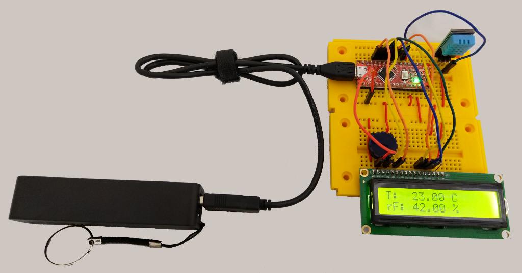 Arduino Nano, DHT-11 und Display im Einsatz